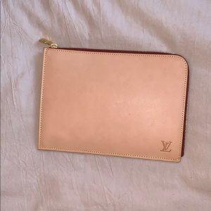 Louis Vuitton Nude Leather Zipper Pouch